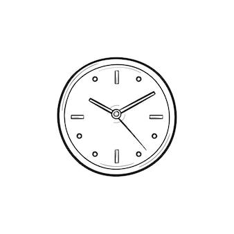 Icona di doodle di contorni disegnati a mano dell'orologio. tempo e orologio, conto alla rovescia e orologio, quadrante e concetto di scadenza