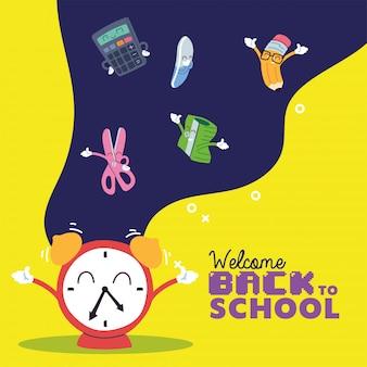 Orologio e set di icone di cartoni animati, lezione di educazione alla scuola
