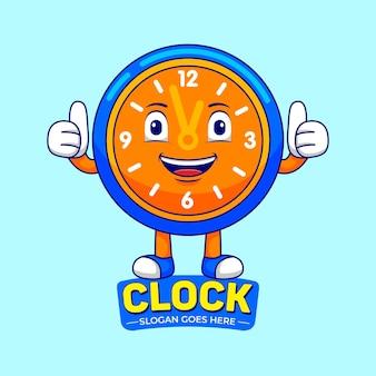 Orologio mascotte cartoon in stile design piatto