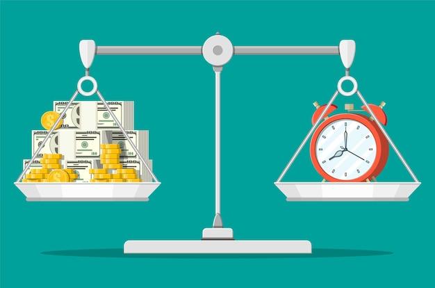 Orologio e soldi sulle scale dell'equilibrio