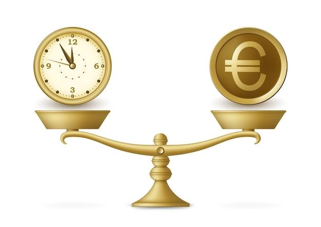 Orologio e soldi su scala equilibrata.