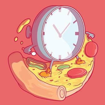 Orologio e pizza. consegna, fast food, concetto di design aziendale