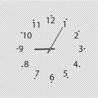 Orologio su sfondo trasparente, illustrazione.