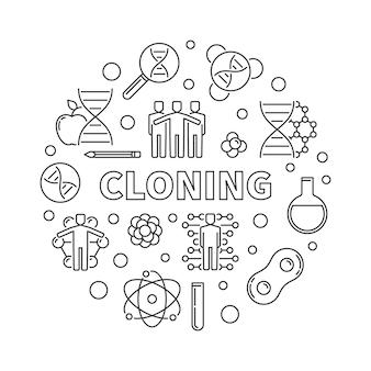 Clonazione rotonda in stile linea sottile