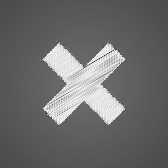 Chiudi icona doodle logo schizzo isolato su sfondo scuro