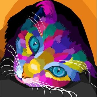 Primo piano di un gatto colorato con il viso su una decorazione isolata pop art