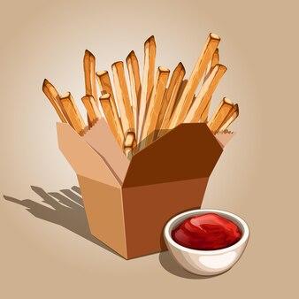 Primo piano sull'illustrazione di patatine fritte