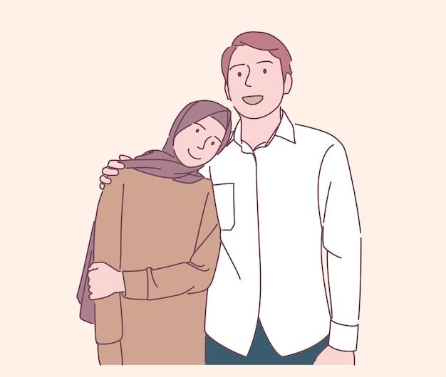 Close up felice famiglia musulmana stare le mani vicino alla spalla indossare abiti casual illustrazione disegnata a mano di vettore