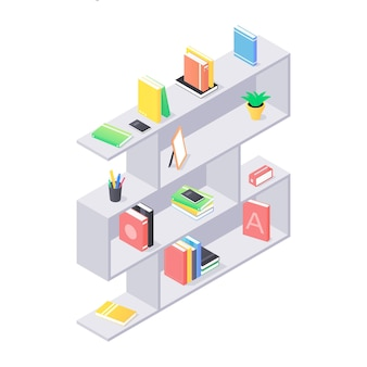 Primo piano sugli scaffali moderni con libri illustrazione isometrica