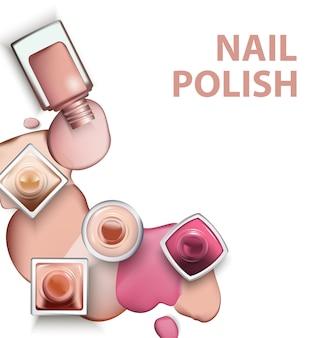 Close up di smalto per unghie con gocce di smalto per unghie tonalità pastello chiare