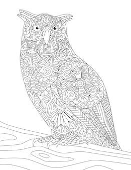 Primo piano del gufo in piedi su un ramo che guarda di lato il nottambulo di disegno a tratteggio incolore guarda di lato