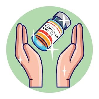 Vista ravvicinata del vaccino contro il coronavirus sul concetto di mani. vettore premium