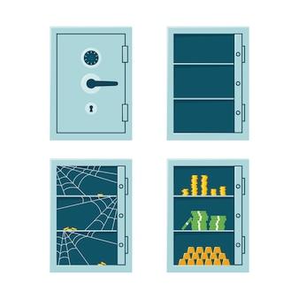 Cassaforte bancaria chiusa, cassaforte vuota e armadietto con soldi e lingotti d'oro. cassaforte con serratura a combinazione