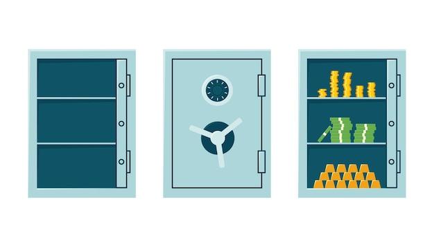 Cassaforte della banca chiusa, cassaforte vuota aperta e armadietto con soldi e lingotti d'oro. cassaforte in acciaio con serratura a combinazione.