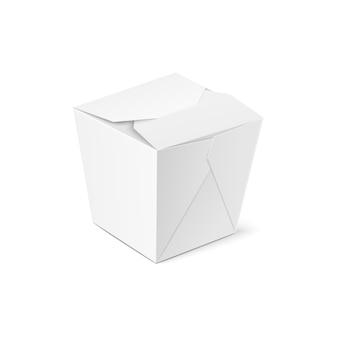Illustrazione realistica del modello di scatola di cibo da asporto in bianco chiuso