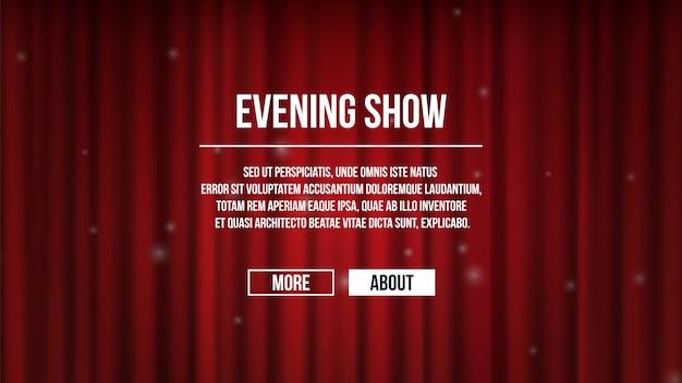 Tende chiuse. sfondo di tende del teatro in raso rosso. mostra modello di banner temporale, pagina di destinazione dell'intrattenimento. tenda rossa per l'illustrazione delle prestazioni di intrattenimento