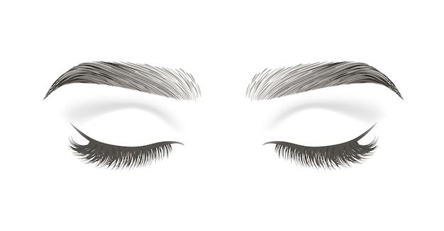Occhio chiuso con lunghe ciglia finte e sopracciglia nere isolate su sfondo bianco
