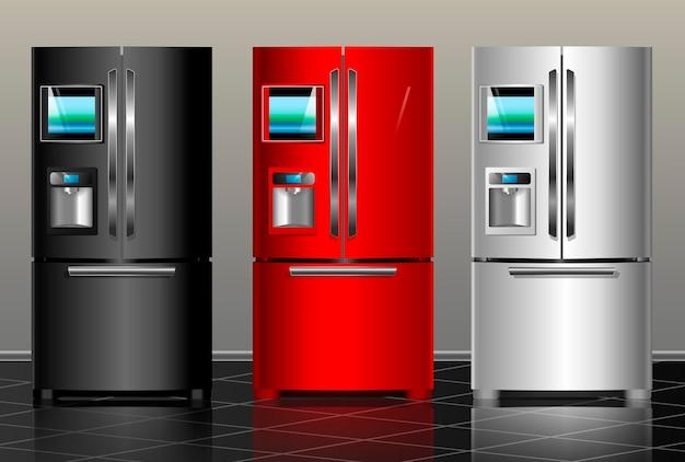 Frigorifero chiuso. illustrazione vettoriale frigorifero moderno in metallo nero, rosso, bianco degli interni