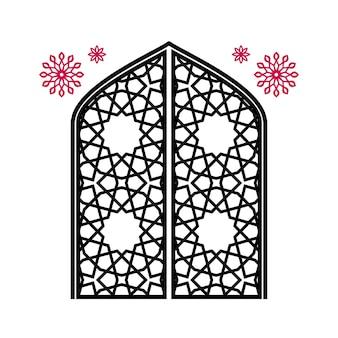 Cancello chiuso con intagli, ornamento islamico tradizionale. isolato su sfondo bianco. illustrazione vettoriale.