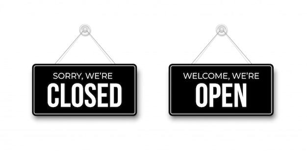 Insegne nere chiuse e aperte appese a ventosa per vendita al dettaglio, negozio, negozio, caffetteria, bar, ristorante