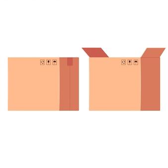 Illustrazione piana della scatola di consegna chiusa ed aperta isolata su fondo bianco.