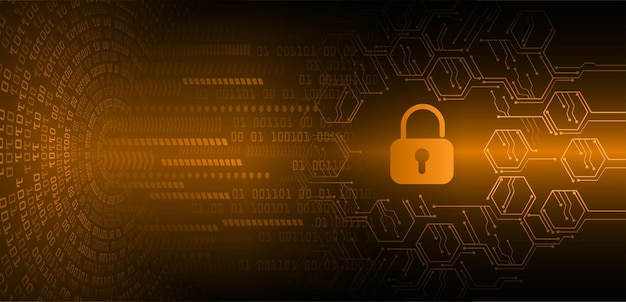 Lucchetto chiuso sulla sicurezza informatica di sfondo digitale