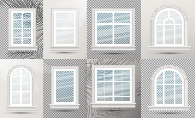 Finestre di vetro realistiche chiuse con ombre.