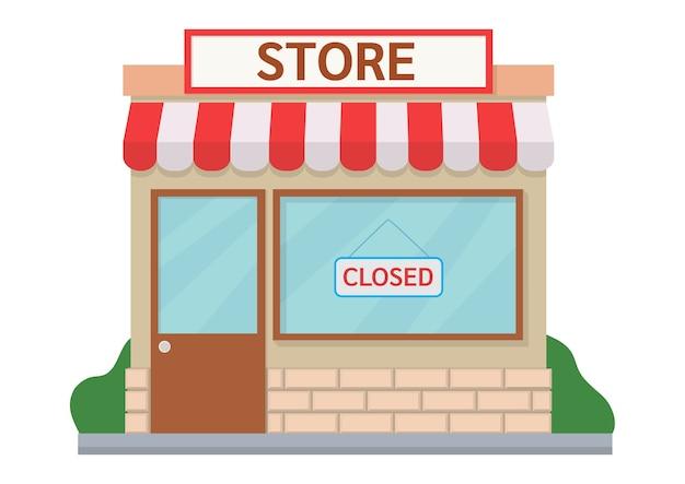 Illustrazione del negozio chiuso. design piatto
