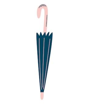 Ombrello chiuso. accessorio autunnale. ombrello d'epoca. protezione dalla pioggia. cartoon piatto illustrazione vettoriale isolato su sfondo bianco.