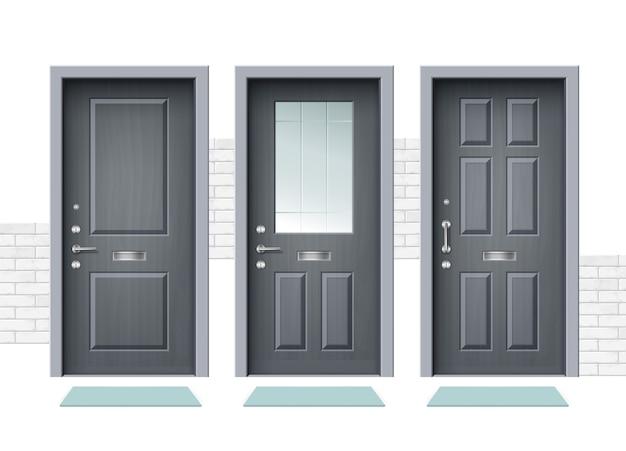 Illustrazione di porta d'ingresso bianca chiusa porta di legno impostata porta interna appartamento chiuso con cerniera in ferro