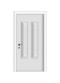 Ingresso bianco chiuso. porta realistica con telaio isolato su sfondo bianco. modello di porta bianca dal design pulito. elemento decorativo della casa.