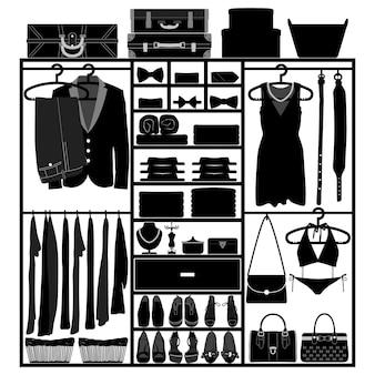 Armadio guardaroba armadio panno accessori uomo donna moda abbigliamento silhouette