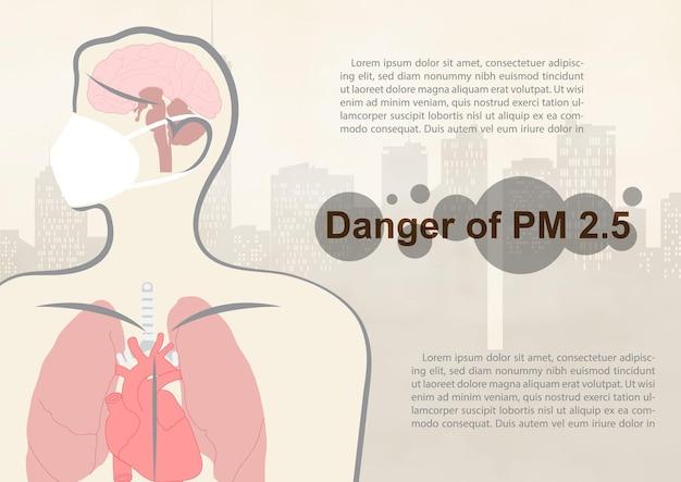 Primo piano e ritagliare il corpo umano con diciture sul pericolo di polvere pm 2,5, testi di esempio sulla vista della città del paesaggio e sullo sfondo di un cattivo inquinamento da nebbia.