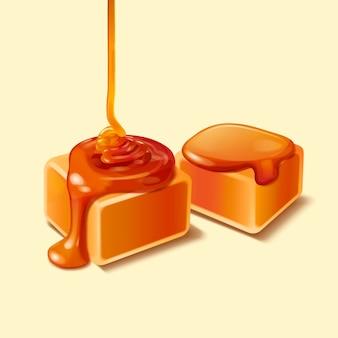 Sguardo del primo piano alla confezione di caramello con sciroppo gocciolante, illustrazione 3d