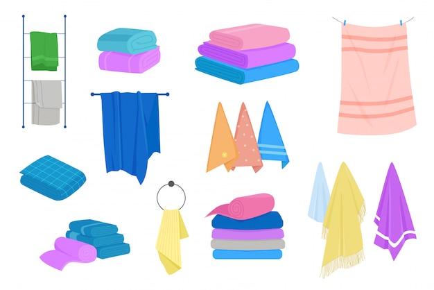Asciugamano di stoffa per bagno, igiene. set asciugamani in tessuto. insieme dell'illustrazione del fumetto del tessuto naturale del bagno. Vettore Premium