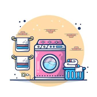 Lavatrice e asciugamano del panno isolati su bianco