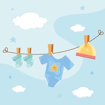 Vestiti del bambino appesi essiccazione icona illustrazione design