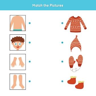 Gioco di abbinamento di vestiti e parti del corpo per bambini.