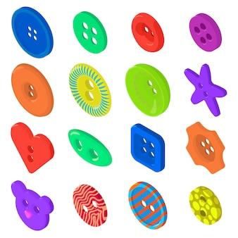 Set di icone del pulsante vestiti. un'illustrazione isometrica di 16 icone del bottone dei vestiti ha messo le icone di vettore per il web