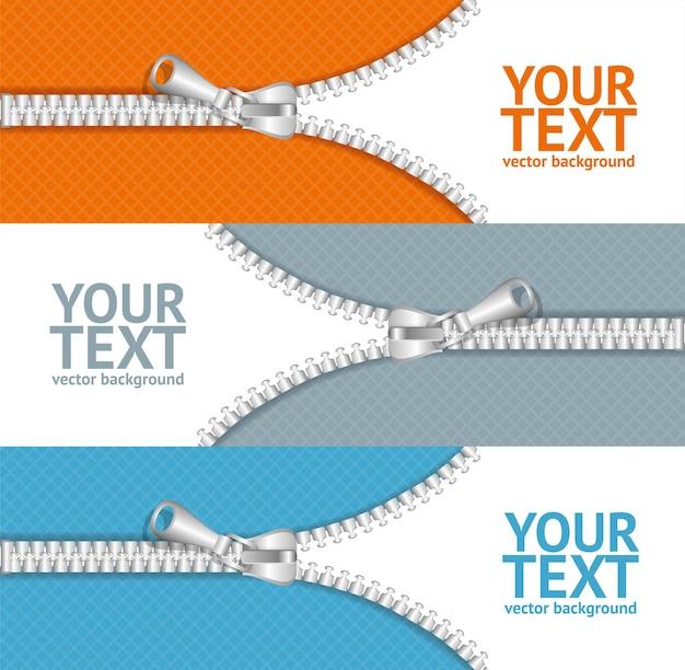 Vestiti colorati con zip banner orizzontale impostato per il tuo business. illustrazione vettoriale