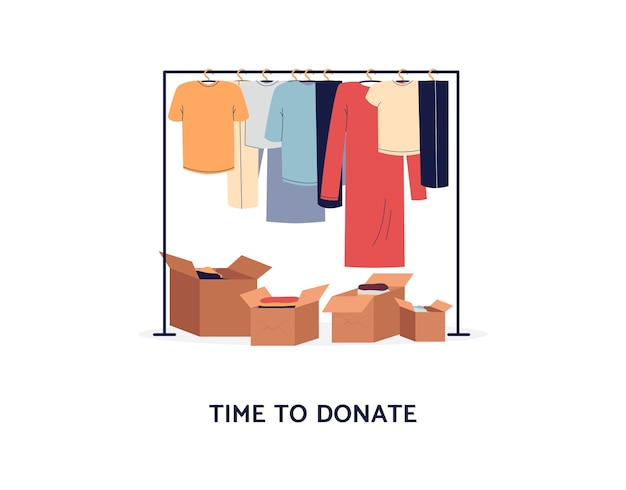 Concetto di donazione di vestiti - appendiabiti e scatole di cartone pronte per donare. manifesto del fumetto per causa di beneficenza o pulizie di primavera - isolato.
