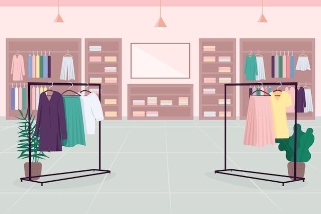 Colore piatto emporio di vestiti. grande magazzino. centro commerciale. boutique di stoffa. negozio di moda in 2d fumetto interno con mensole per vestiti, grucce, specchio sullo sfondo