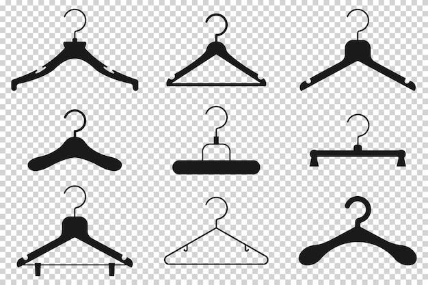 Insieme piano dell'icona del fumetto della siluetta del gancio di vestiti nero isolato