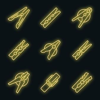 Set di icone di mollette da bucato. contorno set di mollette icone vettoriali colore neon su nero