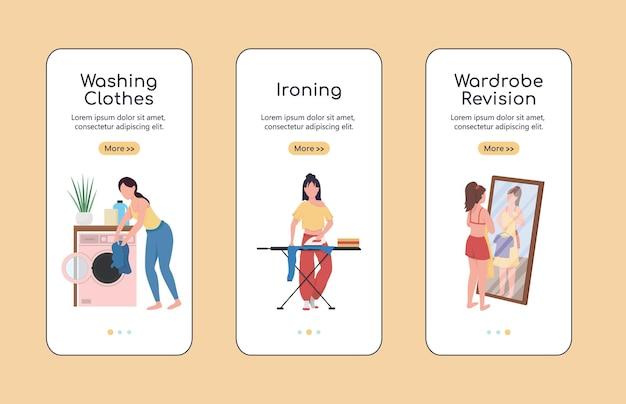 Modello piatto dello schermo dell'app mobile di onboarding della revisione dei vestiti. pulizie di primavera. procedura dettagliata del sito web con i personaggi. ux, ui, interfaccia grafica per cartoni animati dello smartphone