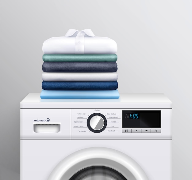 Pila di vestiti sull'illustrazione realistica della lavatrice come pubblicità di moderne attrezzature elettroniche per la lavanderia per le pulizie