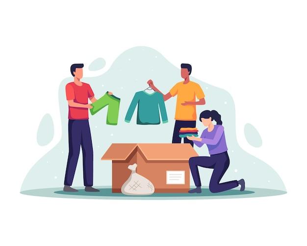 Concetto di donazione di abbigliamento. volontari con scatola per le donazioni e vestiti per l'imballaggio, donna che mette i vestiti nella scatola per le donazioni. persone che donano vestiti, riutilizzo, di seconda mano. illustrazione vettoriale in uno stile piatto