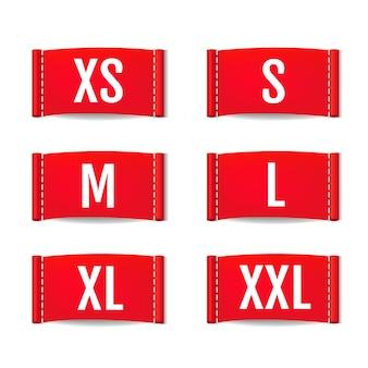 Set di etichette di abbigliamento isolato su sfondo bianco con maglia di gradiente