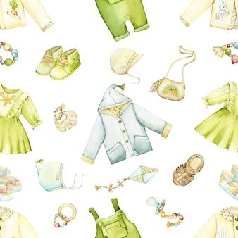 Abbigliamento, scarpe, giocattoli, per bambini, in stile boho. reticolo senza giunte dell'acquerello, in stile cartone animato, su uno sfondo isolato.