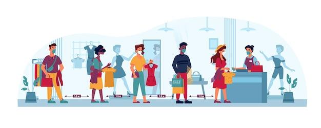 Le persone in coda del negozio di abbigliamento mascherano la distanza sociale